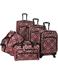 American Flyer Luggage Silver Clover 5 Piece Set Spinner, Pink, One Size