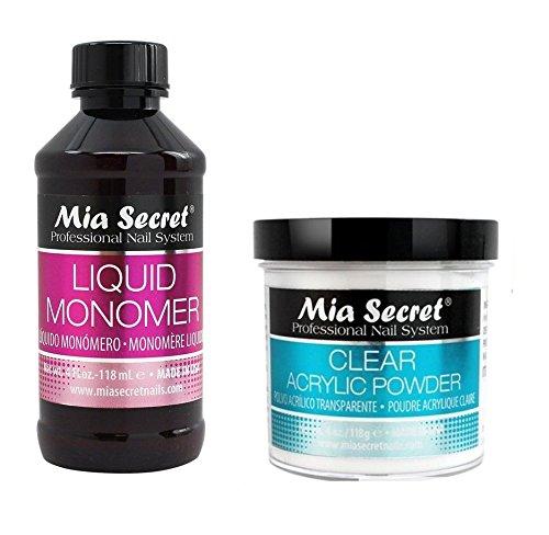 Acrylic Clear Products (Mia Secret Set 4 oz Liquid Monomer with 4 oz Clear Acrylic Powder Nail Art Pro)