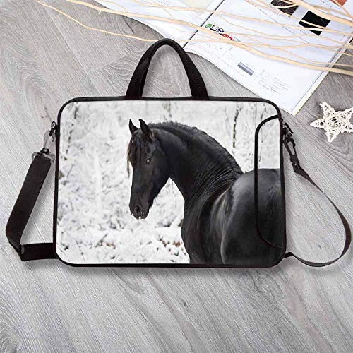 (Equestrian Decor Neoprene Laptop Bag,Black Friesian Sport Horse Portrait on Snowy Winter Background Novelty Picture Laptop Bag for Office Worker Students,17.3