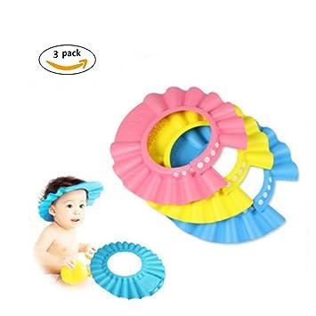 58dd8a5b9a2 Amazon.com   CiCy 3 Pcs Adjustable Children Baby Kids Waterproof Shampoo  Bath Bathing Shower Cap Hat Wash Hair Shield Hat   Baby