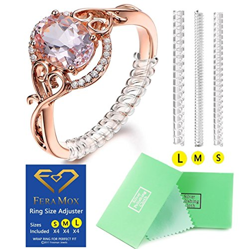 Price comparison product image Ring Size Adjuster Set of 12 with Jewelry Polishing Cloth, 3 Sizes for Any Rings, Perfect for Loose Rings