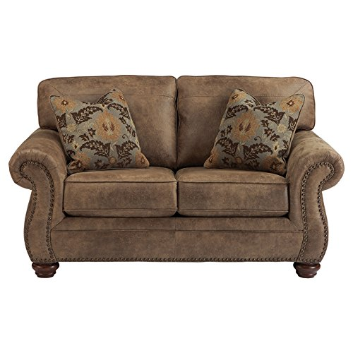 Loveseat Leather Rustic (Ashley Furniture Signature Design - Larkinhurst Traditional Loveseat - Faux Weathered Leather Sofa - Earth)