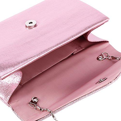 Brillante Forma Desmontable Con Para Bolso En Mujer De Rosa Sobre Cadena Satén qXZ70wg
