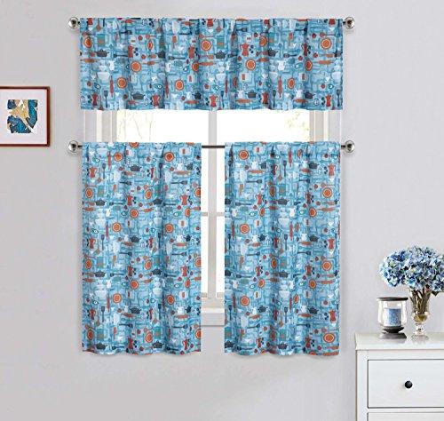 Cotton Blend 3 Piece Kitchen/Cafe Tier Window Curtain Set: Blue with Kitchen Utensil Design