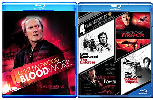 Clint Eastwood Blood Work Blu Ray + Sudden Impact / Absolute Power / Firefox / The Enforcer Action Pack Crime Action Pack 4 Movie Set Feature Films