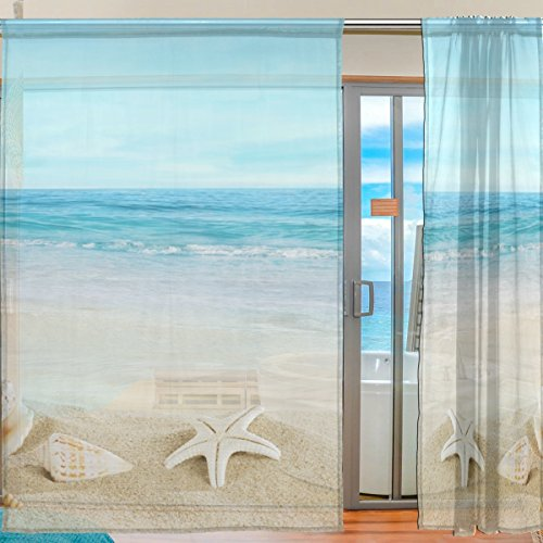 ALIREA Landscape With Shells On Tropical Beach Sheer Curtain Panels Tulle Polyester Voile Window Treatment Panel Curtains For Bedroom Living Room Home Decor, 55x84 inches, 2 Panels Set