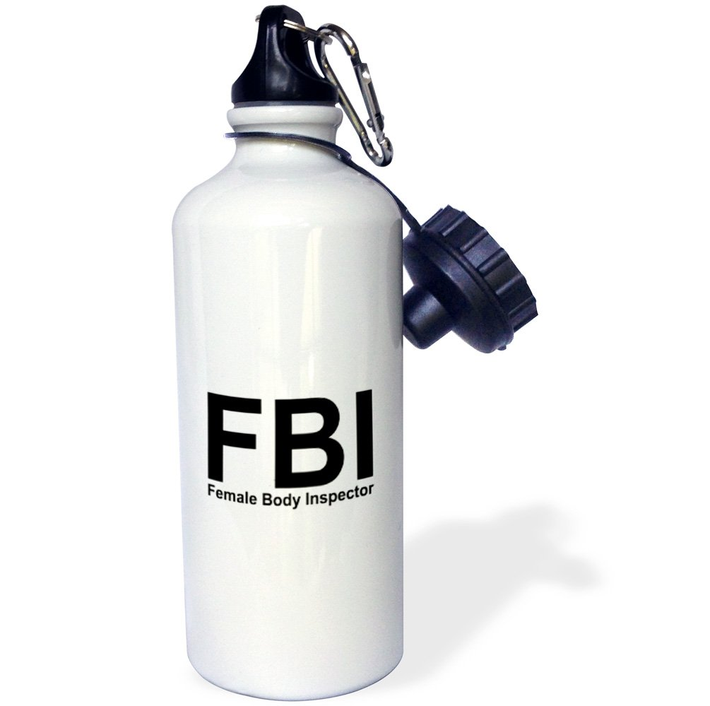 White 3dRose wb/_32852/_1 FBI Female Body Inspector-Sports Water Bottle 21 oz