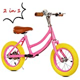2 in 1 Balance Bike Detachable Pedal for Toddler and Kids Ages 3 to 6 years old 12''-Pink