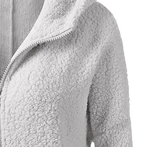 Couleur S Capuchon Lilicat Femmes Vêtements Hiver À Manteau 5xl Zipper Outwear Poche Laine Chaud Light Gray Solide Artificielle Coton wZ8CZrn