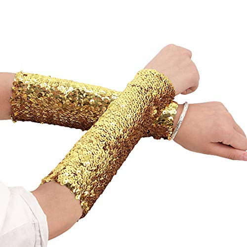 Novia's Choice Women Shiny Sequin Stretchy Oversleeves Sparkle Performance Cosplay Costume Cuffs(Gold) -