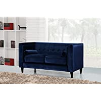 Meridian Furniture 642Navy-L Taylor Button Tufted Velvet Upholstered Loveseat with Square Arms, Custom Solid Wood Legs, and Included Bolster Pillows, Navy