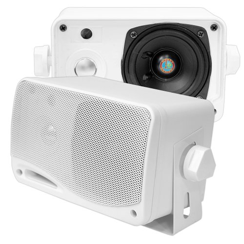 PYLE PLMR24 3.5-Inch 200 Watt 3-Way Weather Proof Mini Box Speaker System (White)
