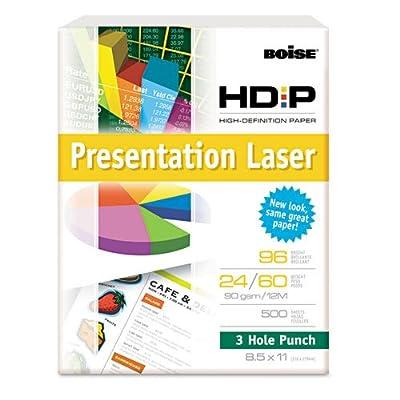 Boise HD:P Presentation Laser 3 Hole Punch Paper, 96 Brightness, 24lb, Ltr, WE, 500/Rm
