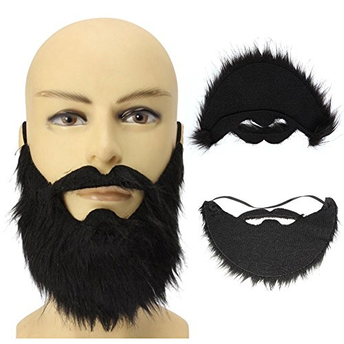 Baost Funny Costume Party Male Man Halloween Beard Facial Hair Disguise Game Black Mustache Fake Black Beard False Moustache Elasticated Halloween Party Prom Props -