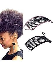 2 piezas Clips de pelo de plátano vintage Accesorio para el cabello elástico 30 dientes Clips de peine de plátano para cabello rizado ondulado grueso grueso naturalmente rizado (negro/rosa)
