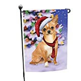 Winterland Wonderland Chihuahua Puppy Dog In Christmas Holiday Scenic Background Garden Flag For Sale