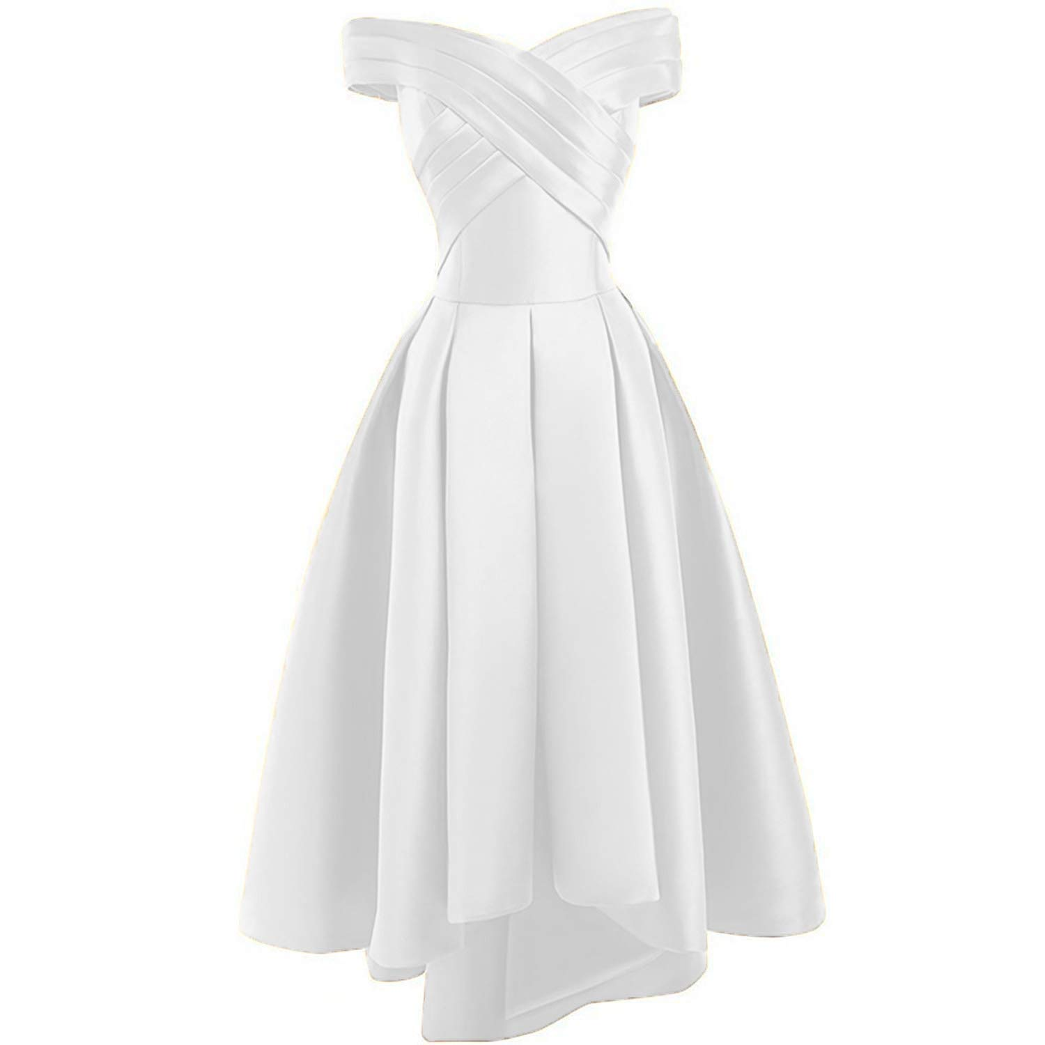 White Dreagel Women's High Low Prom Dresses Off Shoulder Pleatd Evening Homecoming Dress
