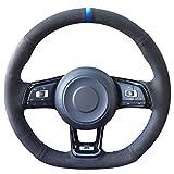 vw r steering wheel - Loncky Black Suede Auto Custom steering wheel covers for 2015 2016 2017 2018 Volkswagen Jetta GLI VW / 2015 2016 2017 VW Golf R / 2015-2018 VW Golf 7 MK7 GTI Interior Accessories Parts