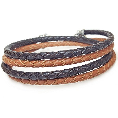 SADDLE and BROWN Leather Wrap Bracelet