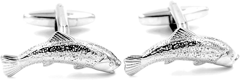 Salmon Trout Fish Cuff Links Fly Fishing Rod Angler Present Silver Cufflinks