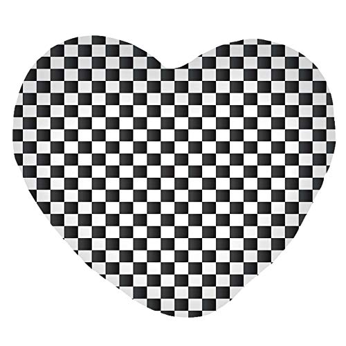 3D Printed Soft Short Plush Heart Shaped Decorative Pillowcase,Classical Chessboard Inspired Abstract Tile Print,Lovely Personalized Customization Fashion Pillow Case ()