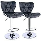 Black Leather Bar Stools Leopard Shell Back Adjustable Swivel Bar Stools, PU Leather Padded with Back, Set of 2 (Black)