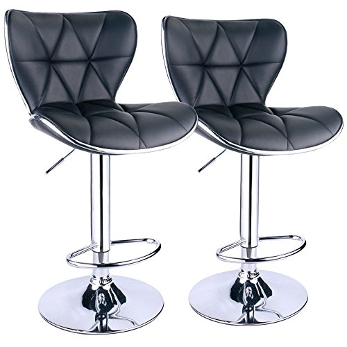 (Leopard Shell Back Adjustable Swivel Bar Stools, PU Leather Padded with Back, Set of 2 (Black))