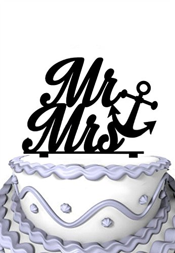 Meijiafei Custom Script Mr & Mrs with Heart Anchor Wedding Acrylic Cake - Wedding Acrylic Beach