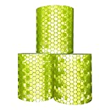 Viewm Reflective Tape 3 Rolls Safety Warning Tapes 2 inch × 3.28 yard (Yellow)