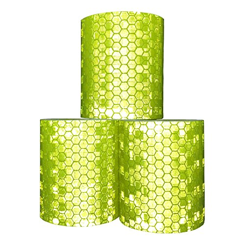 Viewm Reflective Tape 3 Rolls Safety Warning Tapes 2 inch × 3.28 yard (Yellow) ()