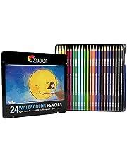 Zenacolor Lápices de Colores Acuarelables, Numerados con Pincel en Caja Metálica Set de Ecolápices Acuarelables de Colores - Únicos y Diferentes - Coloreado para Adultos y Artistas