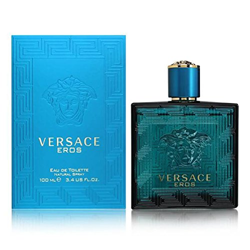 Versace Eros Eau de Toilette Spray for Men, 3.4 Ounce (Blue Flame Stuff)