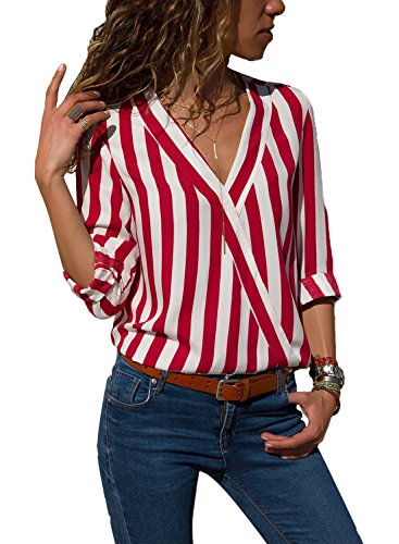 HOTAPEI Womens Casual V Neck Striped Chiffon Blouses for Women Fashion 2018 Long Sleeve Wrap Work Tops Shirts Red and White Medium