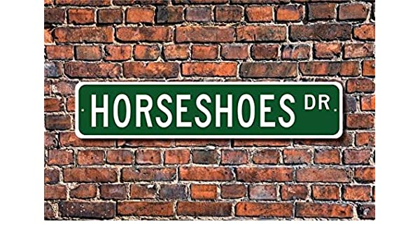 Indoor//Outdoor HORSESHOE Street Sign signs horseshoes game player trophy  18/""