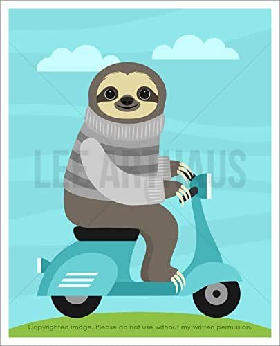 Amazon.com: 13J - Sloth Wearing Gray Sweater and Riding