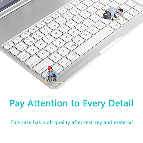 HIOTECH iPad Mini 4 Bluetooth Keyboard Case Aluminum Alloy Keypad Cover for iPad Mini 4 with 7 LED Backlit Keys & 2800mah Capacity Power Bank (Silver) by HIOTECH (Image #4)