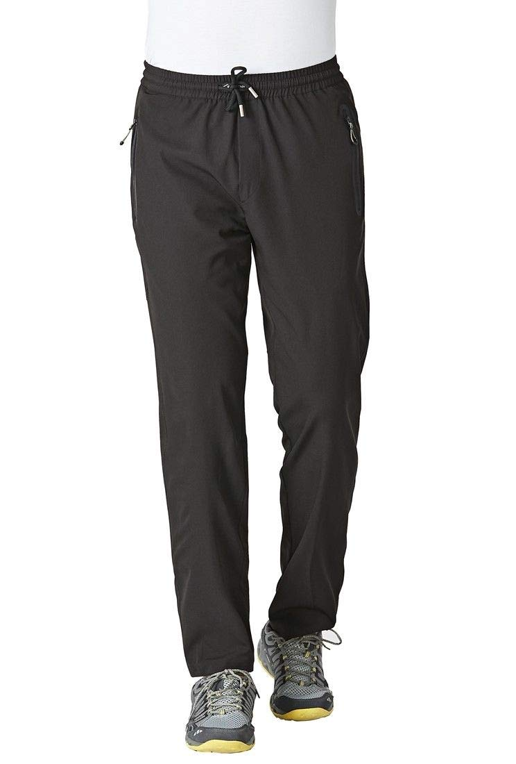 Rdruko Men's Spring and Summer Casual Pants Lightweight Breathable Quick Dry Hiking Running Outdoor Sports Trousers(Black, US L)