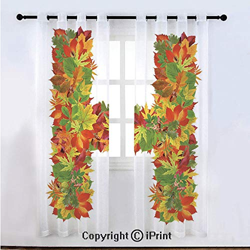 Letter H Semi Sheer Voile Window Curtain With Drapes Grommet,Vibrant Tone Leaf Bouquet Nature Beauty Seasonal Faded Plant Garden Colorful Print Decorative,for Bedroom,Living Room & Kids Room(108