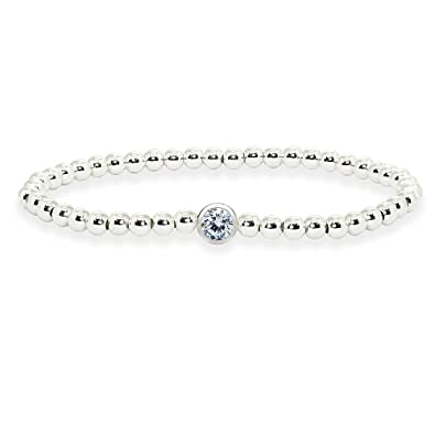 b37ddd00bac Sterling Silver Polished Beads Stretch Bracelet Made with Clear Swarovski  Crystal