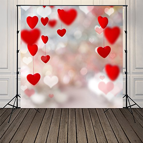 5x5ft Red Heart Photography Backdrops Photo Props Studio Background For Valentine Day Xt-5157