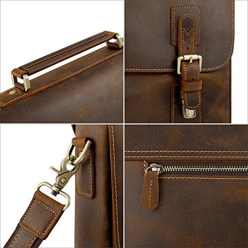 9aa9435c72 Kattee Mens Leather Satchel Briefcase 16 Inch Laptop Messenger Bag ...