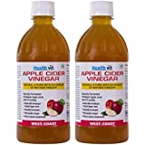 Healthvit Apple Cider Vinegar 500ml - With Mother Vinegar, Raw, Unfiltered & Undiluted - Pack of 2