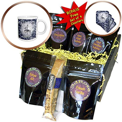 3dRose Beverly Turner Christmas Design - Carousel Reindeer White Poinsettia Accents, Snowflakes, Blue and White - Coffee Gift Baskets - Coffee Gift Basket (cgb_299619_1)