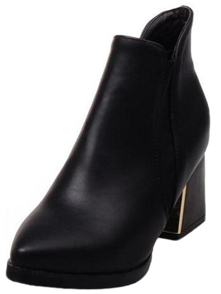 Aisun Damen Sexy Spitz Zehen High Heels Kurzschaft Chelsea Knöchelstiefel Mit Reißverschluss Schwarz 40 EU rtJI8Vmo