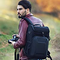 Evecase Shell DSLR Camera / 15.6-inch Laptop Water Resistant Backpack Travel Daypack w/ Rain Cover and Inner Bag for Nikon Canon Fujifilm Sony Digital SLR, Mirrorless Camera and More – Black from Evecase
