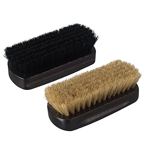 Molded Headliner - Fasmov Leather Scrub Brush Upholstery Brush, Car Interior Cleaner, 2 Pack (Black/ Brown)