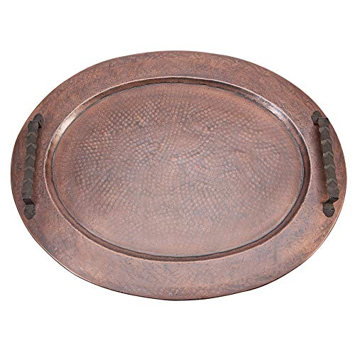 Mud Pie Oversized Hammered Copper Gallery Oval Decorative Tray,