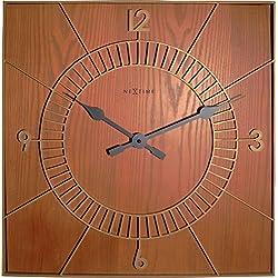 NEXTIME Square Wall Clock, Wood, Multi-Colour