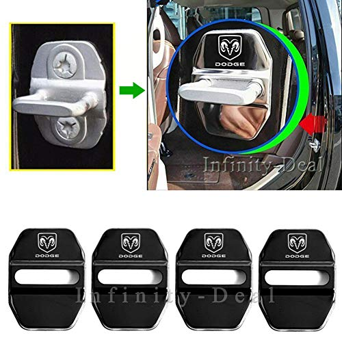 Infinity-Deal 4PCS Stainless Steel Car Door Lock Cover Protective Case Sticker for Dodge Ram 1500 2500 3500 Styling Replacement Auto Accessories (Black)