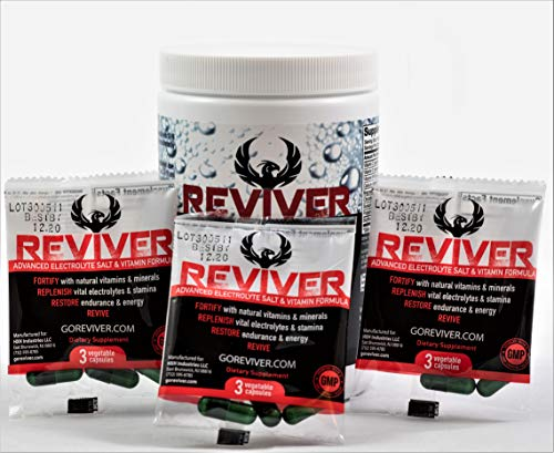 (REVIVER Electrolyte Tablets, 20 Packets of 3 Capsules | Buffered Rapid Oral Rehydration Salts | Cycling/Runner Stamina Replacement Supplement | Endurolyte Muscle Cramp Cure | Hangover Prevention Pills)
